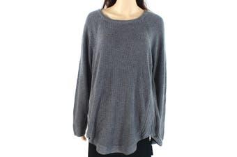 INC Women's Sweater Heather Gray Size 3X Plus Waffle Knit Cruved Hem