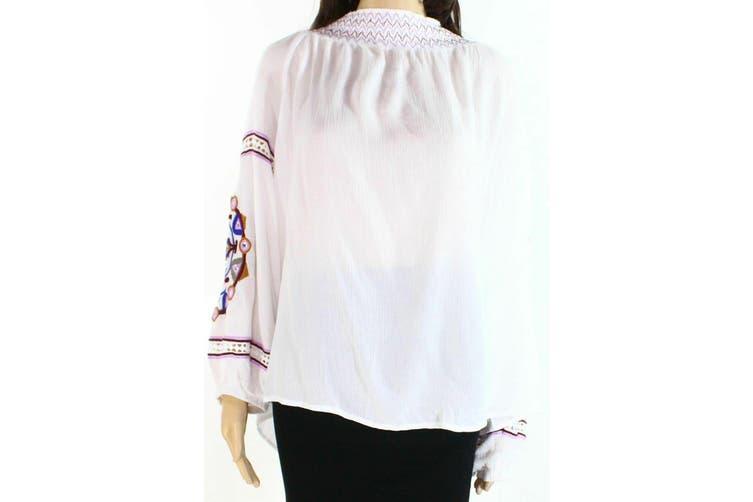 INC Women's White Size 1X Plus Smocked Embroidered Mock Neck Blouse