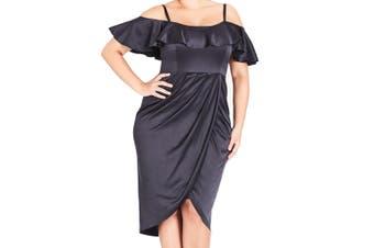 Alfred Dunner Women's Dress Black Size S Off-Shoulder Ruffled