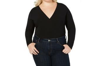 INC Women's Top Blouse Black Size 3X Plus Bodysuit Surplice Long Sleeve