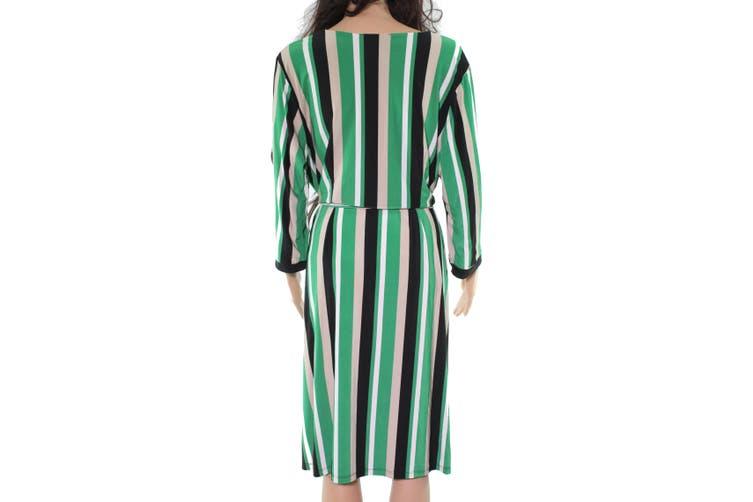 INC Women's Dress Beige Green Size 3X Plus Sheath Surplice Striped
