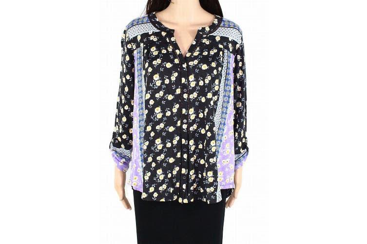 Style & Co Women's Top Blue Size 1X Plus Floral Split Neck Button Down