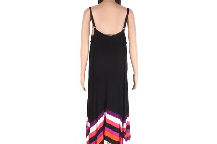 INC Women's Dress Black Size 2X Plus Maxi Striped V-Neck Colorblock