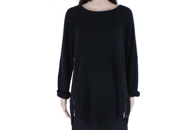 INC Women's Sweater Deep Black Size 2X Plus Side-Zippers Waffle-Knit