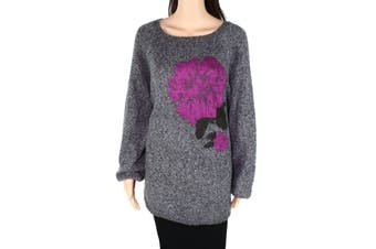 Style & Co Women's Sweater Gray Size 2X Plus Pullover Flower Knit