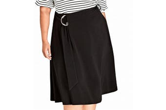 City Chic Women's Skirt Solid Black Size XL Plus A-Line Belted Joyful