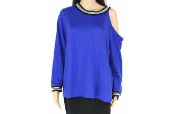 INC Women's Swester Blue Size 2X Plus Pullover Cutout Cold-Shoulder