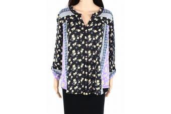 Style & Co Women's Top Purple Size 0X Plus Knit Button Front Floral