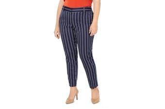 MICHAEL Michael Kors Women Blue 18W Petite Striped Dress Pants Stretch