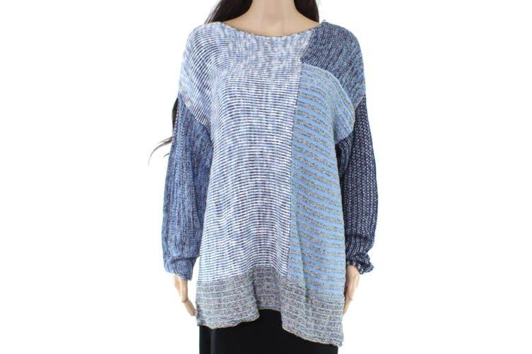 Style & Co. Women's Sweater Blue Size 1X Plus V-Neck Mix Knit Tunic