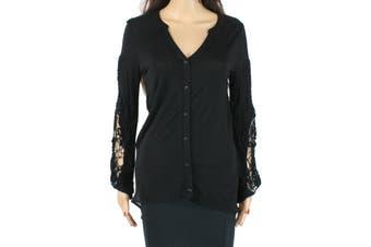 August Silk Women's Top True Midnight Black Size XS Knit High-Low