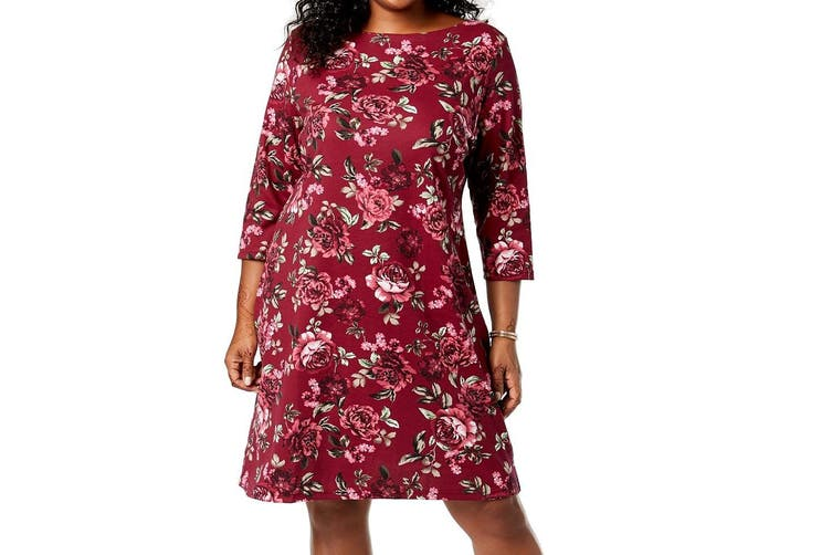 Karen Scott Women's Dress Merlot Red Size 2X Plus Shift Floral Rose