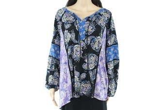 Style & Co. Womens Blouse Purple Blue Size 2X Plus Paisley Floral Print