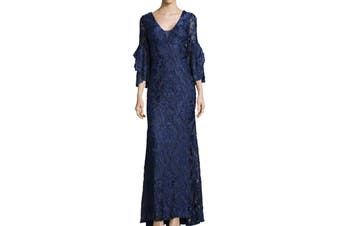 Betsy & Adam Women's Dress Blue 2 Ruffled Illusion Embroidered Gown