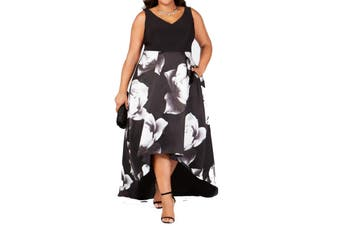 Betsy Adam Womens Dress Black Size 14W Plus High-Low Floral-Print Gown