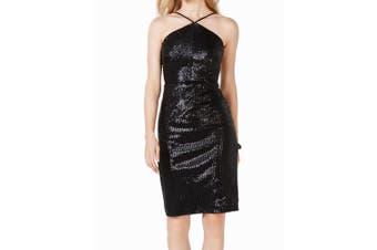 Adrianna Papell Women's Dress Black Size 0 Sheath Sequined Halter