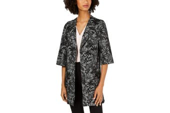 Nine West Women's Jacket Black Size XS Open Front Floral Embroidered