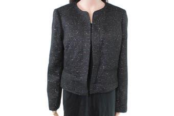 Nine West Women's Jacket Deep Black Size 10 Sequin Tweed Open Front
