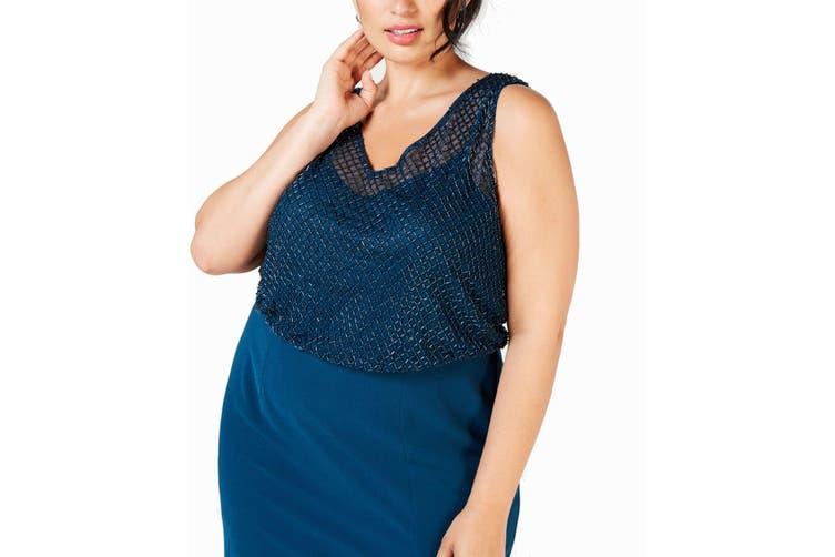 Adrianna Papell Women's Dress Blue Size 20W Plus Blouson Beaded Gown