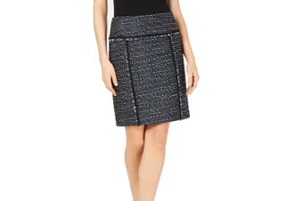 Anne Klein Women's Skirt Blue Size 10 Straight Pencil Tweed Side-Zip