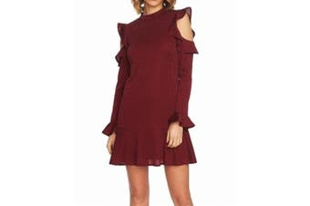 CeCe Women's Dress Red Size Small S Ruffle Cold-Shoulder Ribbed Shift