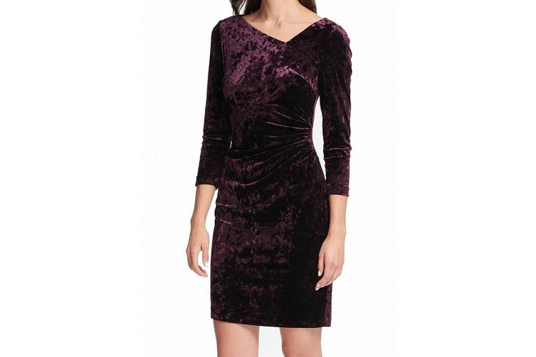DKNY Women's Dress Purple Size 6 Sheath Velvet Asymmetric Neck Ruched