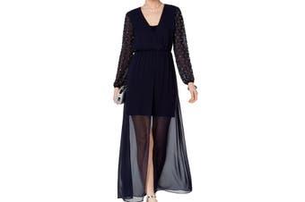 Betsy & Adam Women's Dress Blue Size 8P Petite Beaded Chiffon Sheath