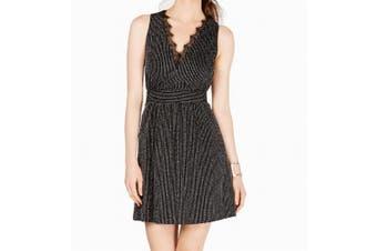 19 Cooper Women's Dress Black Size Small S Metallic Stripe Lace A-Line