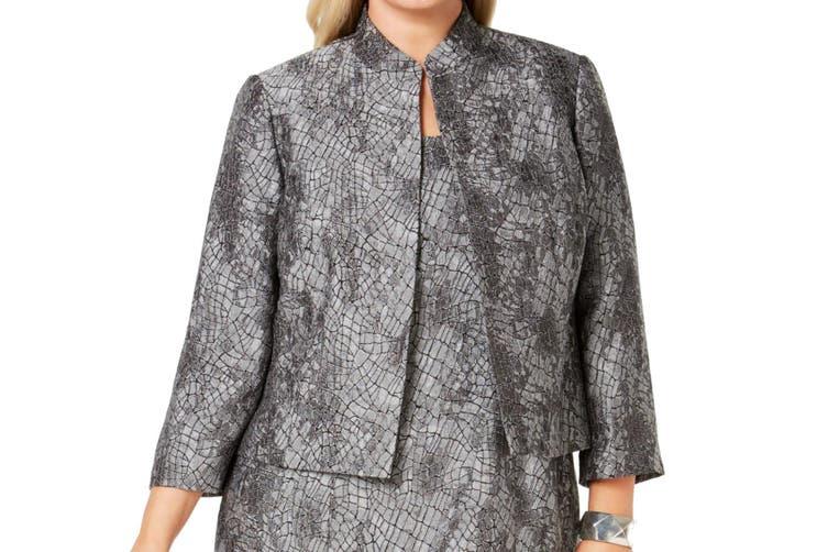 Kasper Women's Jacket Gray Size 14W Metallic Textured Open Front