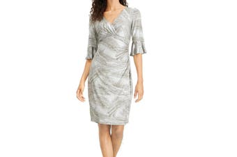 Connected Apparel Women's Dress Silver Size 6 Surplice Bell-Sleeves