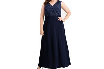 Alex Evenings Women's Dress Navy Blue Size 22W Plus Gown Shimmer