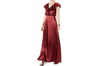 Adrianna Papell Women's Dress Red Size 14 Gown Ruffled Satin V-Neck