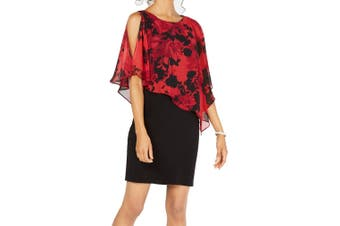 Connected Apparel Women's Dress Black Red Size 16 Sheath Cape Twofer