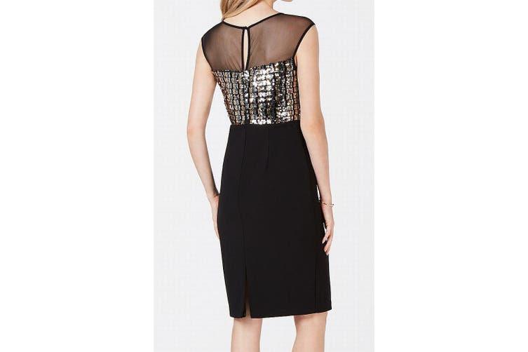 Vince Camuto Women's Dress Black Size 12 Sheath Mesh Sequin Contrast
