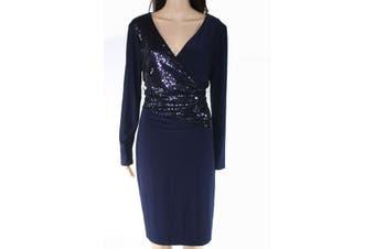 Lauren By Ralph Lauren Women's Dress Black Size 16 Sheath Sequined