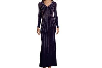 Xscape Women's Dress Midnight Blue Size 4 Embellished V-Neck Gown