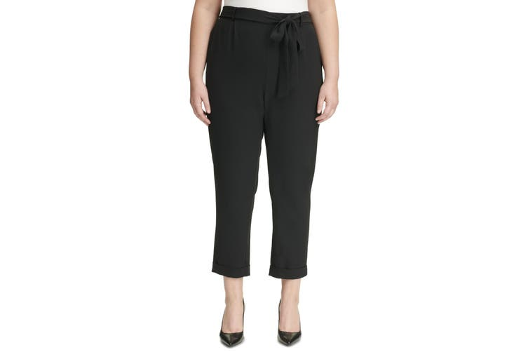 Calvin Klein Women's Black Size 14W Plus Paperbag Belted Pants Stretch