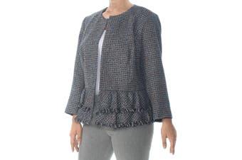Nine West Women's Jacket Blue Size 14W Plus Tweed Open Front Fringe