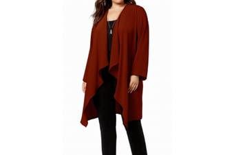 Nine West Women's Sweater Porto Red Size 2X Plus Cardigan Open Front