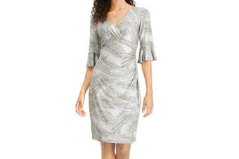 Connected Apparel Women's Dress Silver Size 8 Surplice Bell-Sleeves