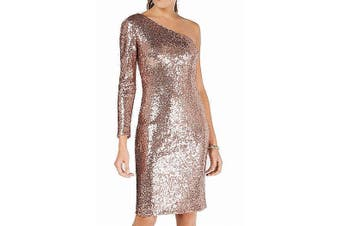 Nightway Women's Dress Pink Size 6 Sequined Sheath One-Shoulder