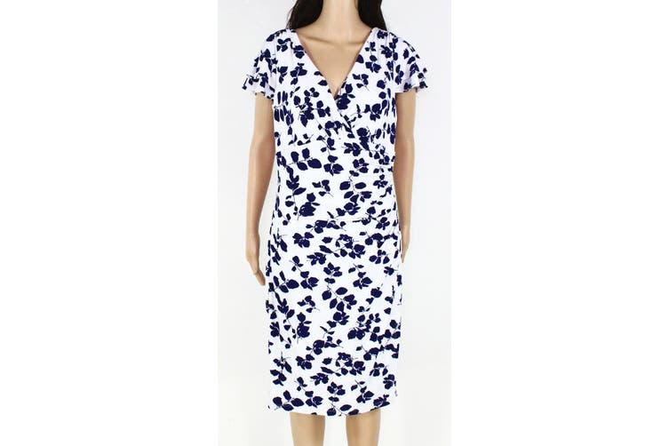 Ralph Lauren Women's Dress Off White Size 12 V-Neck Floral Printed