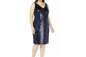Nightway Women's Dress Navy Blue Size 14W Plus Sheath V-Neck Sequin