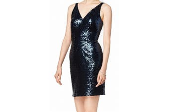 Nightway Women's Dress Midnight Blue Size 6 Sheath Sequin V-Neck Mini