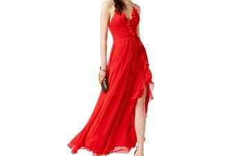 Betsy & Adam Women's Dress Red Size 8 Sheath Ruffle Maxi Thigh Split