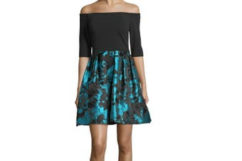 Betsy Adam Women's Dress Teal Black Size 8 A-Line Floral Pleated