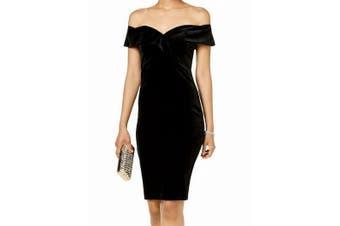 Bardot Women's Dress Black Size 10 Sheath Off The Shoulder Velvet