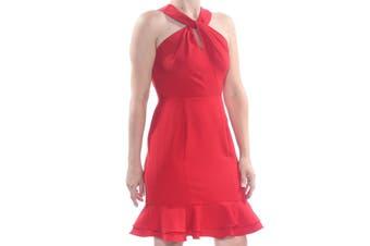 19 Cooper Women's Red Size Medium M Halter Flounce Sheath Dress