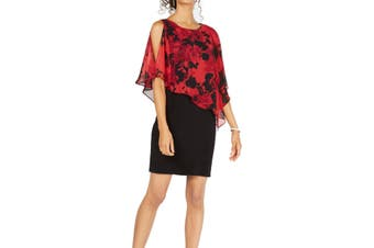 Connected Apparel Womens Dress Black Size 8 Sheath Floral-Print Popover