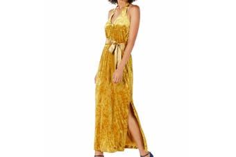Avec Les Filles Women's Dress Yellow Size 6 Maxi Crushed-Velvet Belted
